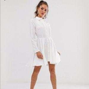 Alice Olivia Style White Pleated Front Shirt Dress